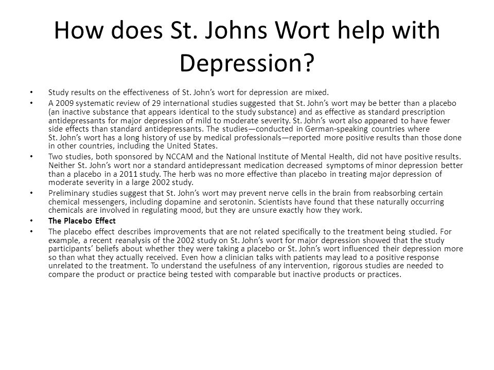 How does St. Johns Wort help with Depression. Study results on the effectiveness of St.