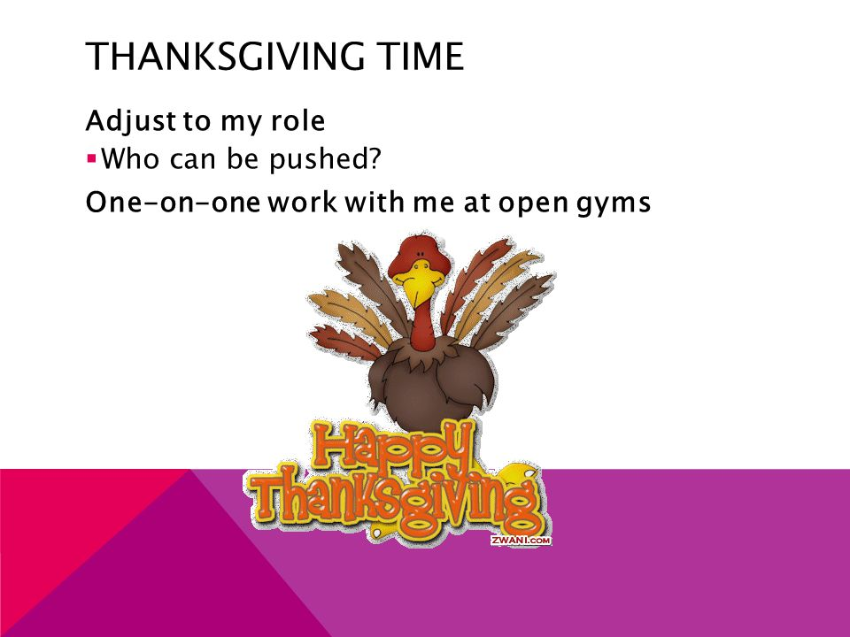 THANKSGIVING TIME Adjust to my role  Who can be pushed? One-on-one work with me at open gyms