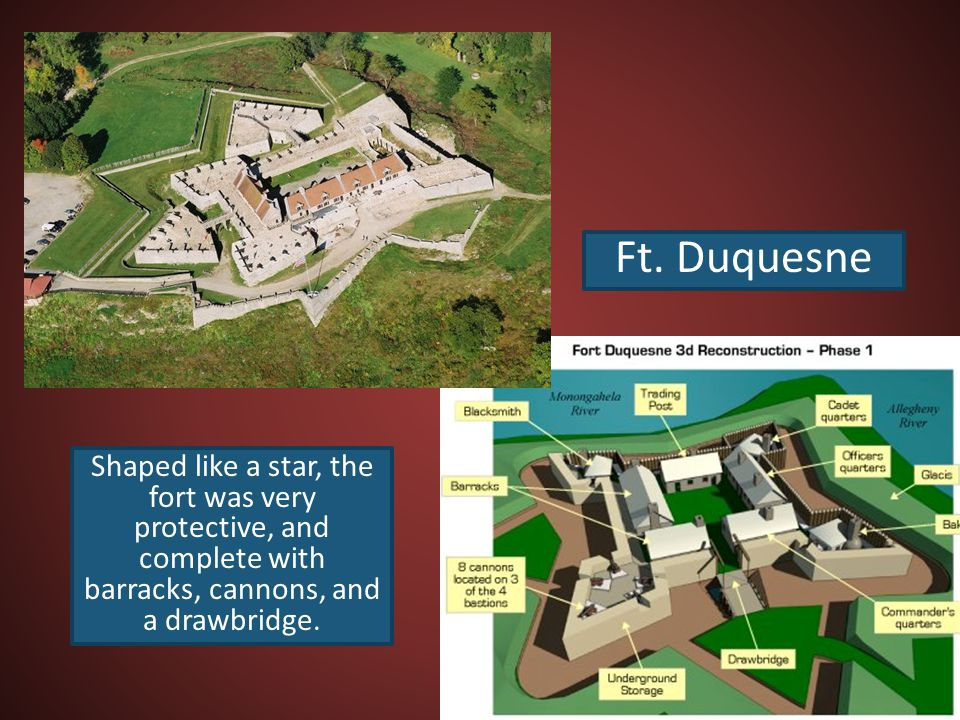 Ft. Duquesne Shaped like a star, the fort was very protective, and complete with barracks, cannons, and a drawbridge.