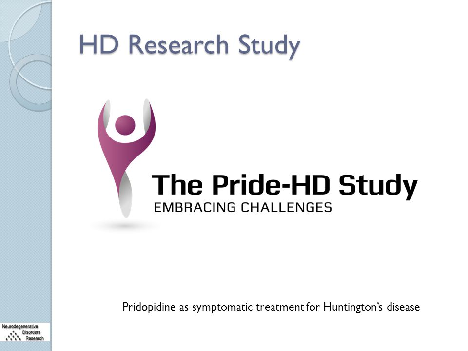 HD Research Study Pridopidine as symptomatic treatment for Huntington's disease