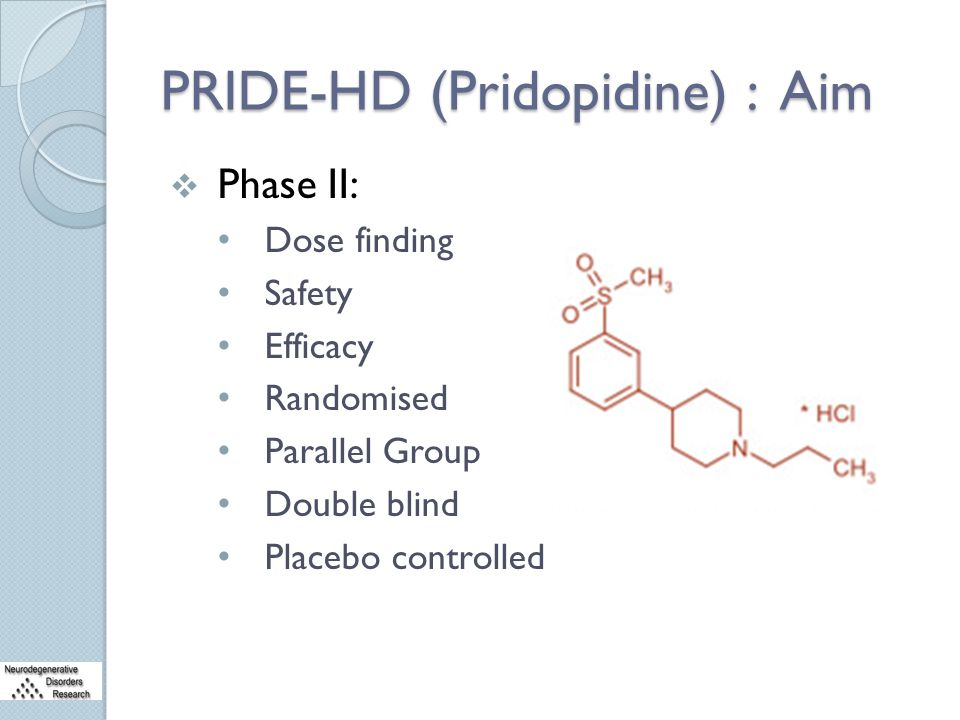 PRIDE-HD (Pridopidine) : Aim  Phase II: Dose finding Safety Efficacy Randomised Parallel Group Double blind Placebo controlled