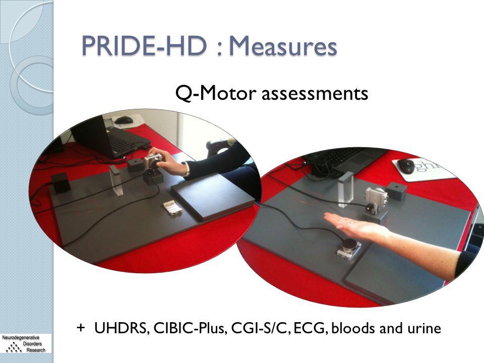 PRIDE-HD : Measures Q-Motor assessments + UHDRS, CIBIC-Plus, CGI-S/C, ECG, bloods and urine