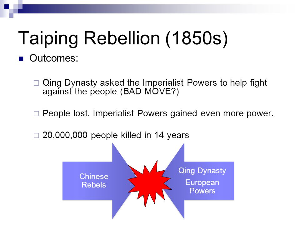 Taiping Rebellion (1850s) Outcomes:  Qing Dynasty asked the Imperialist Powers to help fight against the people (BAD MOVE )  People lost.