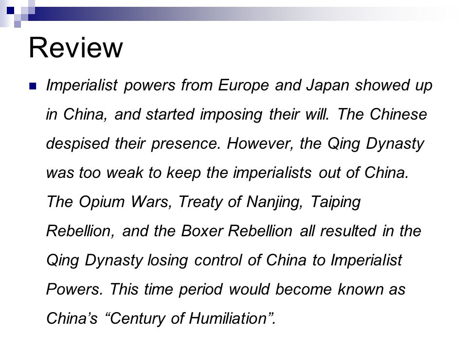 Review Imperialist powers from Europe and Japan showed up in China, and started imposing their will. The Chinese despised their presence. However, the