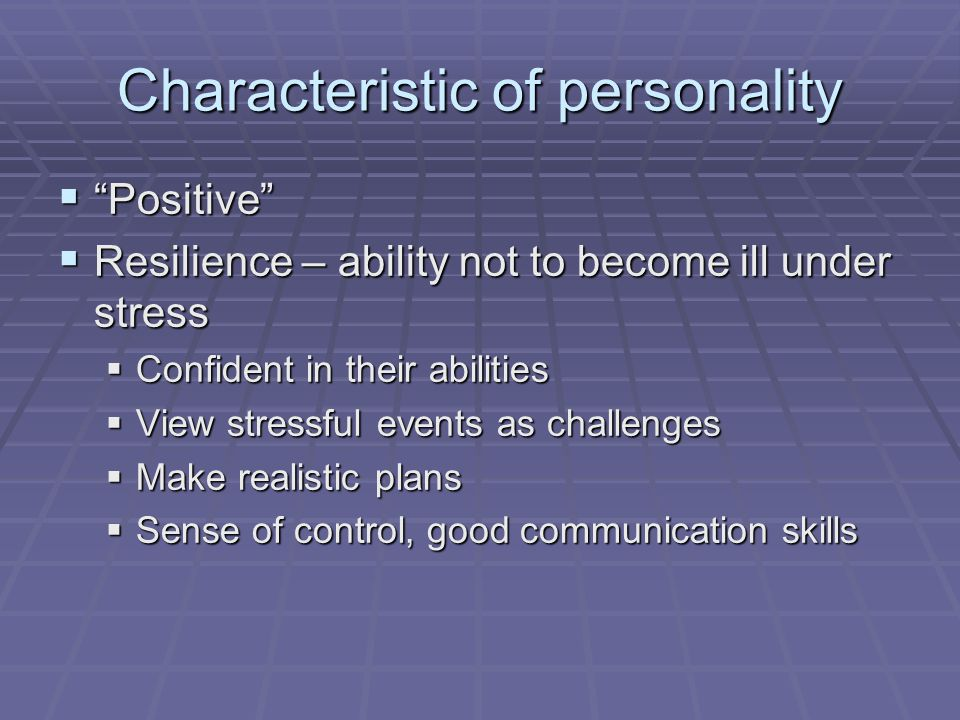 Characteristic of personality  Negative  Perfectionist  Negative Thinker  Procrastinator