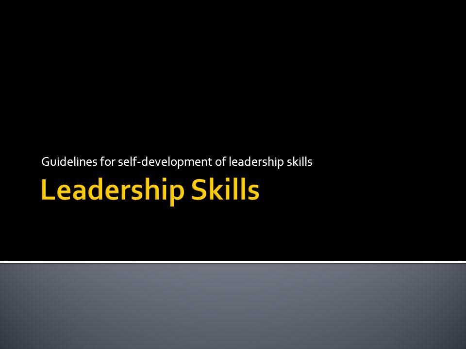Guidelines for self-development of leadership skills