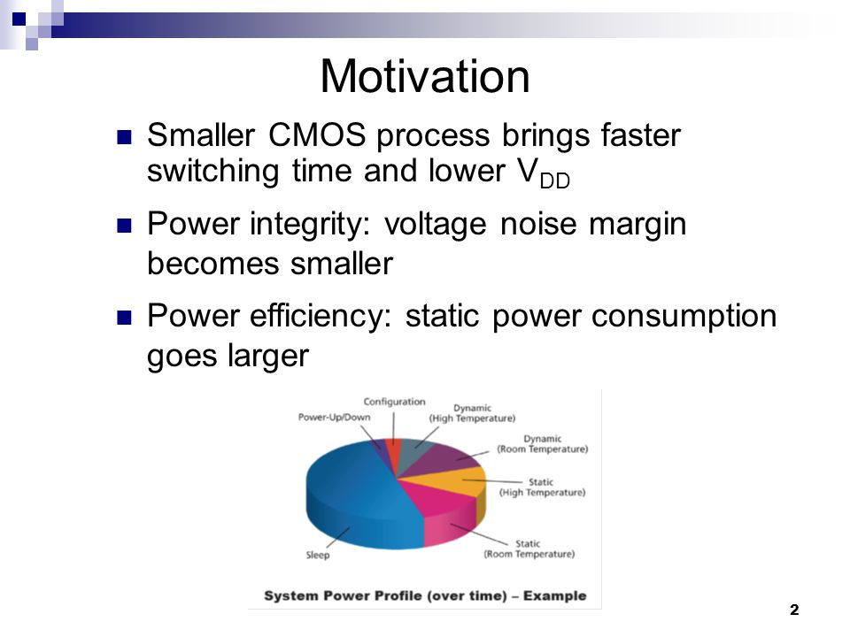 2 Motivation Smaller CMOS process brings faster switching time and lower V DD Power efficiency: static power consumption goes larger Power integrity: voltage noise margin becomes smaller