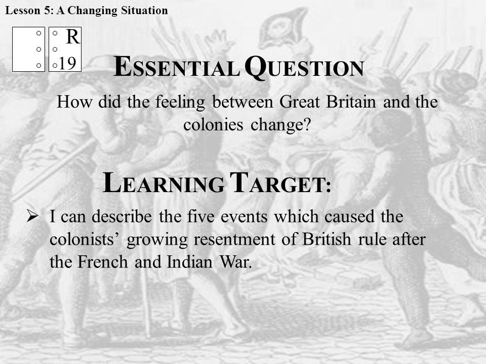 L EARNING T ARGET:  I can describe the five events which caused the colonists' growing resentment of British rule after the French and Indian War.