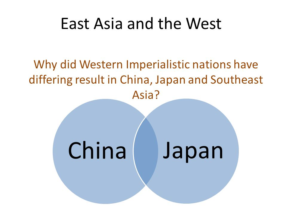 East Asia and the West Why did Western Imperialistic nations have differing result in China, Japan and Southeast Asia.