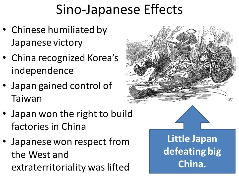 Sino-Japanese Effects Chinese humiliated by Japanese victory China recognized Korea's independence Japan gained control of Taiwan Japan won the right to build factories in China Japanese won respect from the West and extraterritoriality was lifted Little Japan defeating big China.
