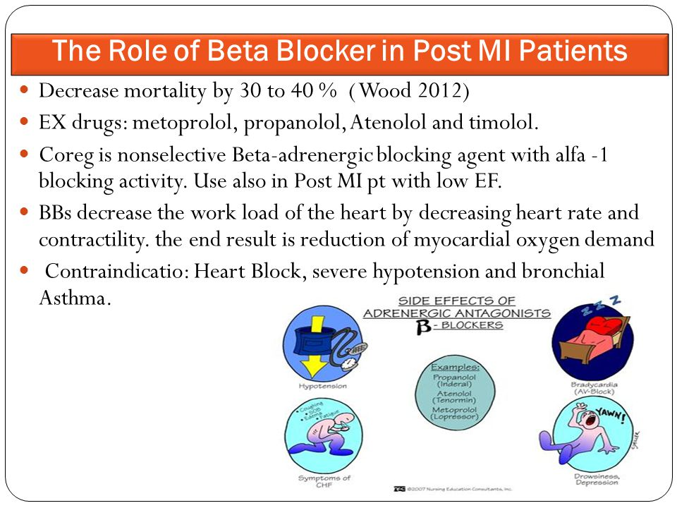 Decrease mortality by 30 to 40 % ( Wood 2012) EX drugs: metoprolol, propanolol, Atenolol and timolol.
