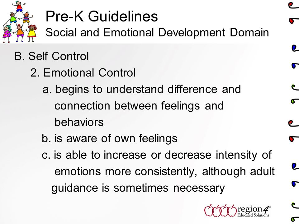 Pre-K Guidelines Social and Emotional Development Domain B.