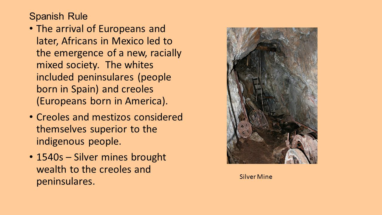 Spanish Rule The arrival of Europeans and later, Africans in Mexico led to the emergence of a new, racially mixed society. The whites included peninsu