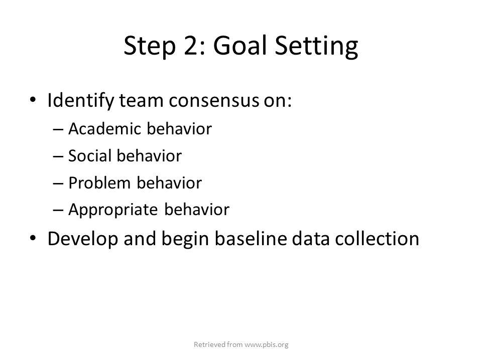 Step 2: Goal Setting Identify team consensus on: – Academic behavior – Social behavior – Problem behavior – Appropriate behavior Develop and begin baseline data collection Retrieved from www.pbis.org