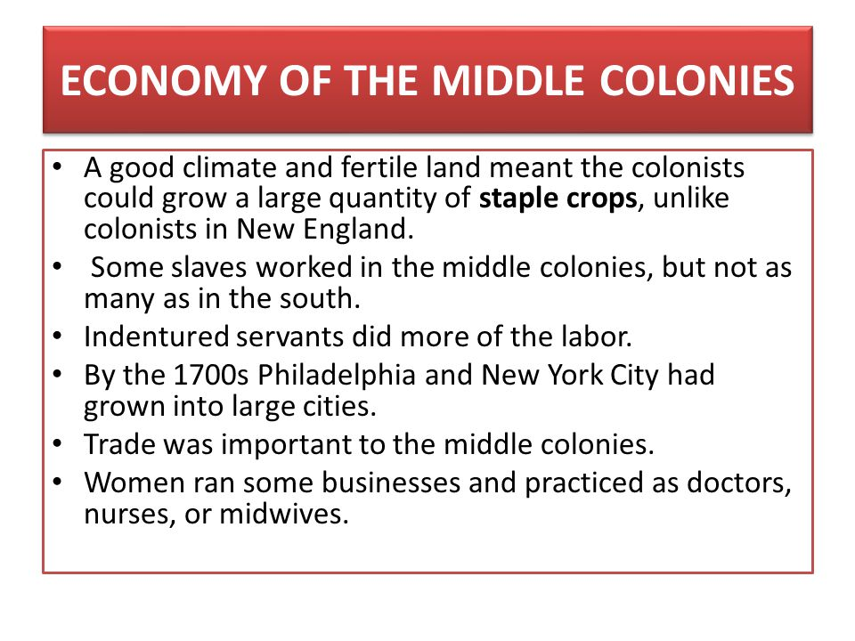 ECONOMY OF THE MIDDLE COLONIES A good climate and fertile land meant the colonists could grow a large quantity of staple crops, unlike colonists in Ne