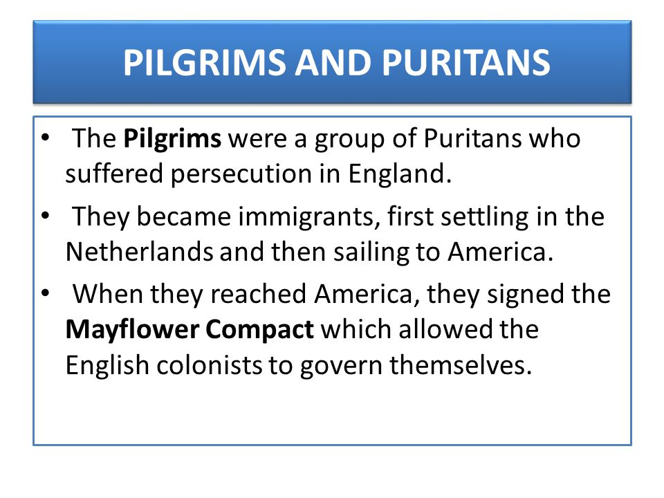 PILGRIMS AND PURITANS The Pilgrims were a group of Puritans who suffered persecution in England. They became immigrants, first settling in the Netherl