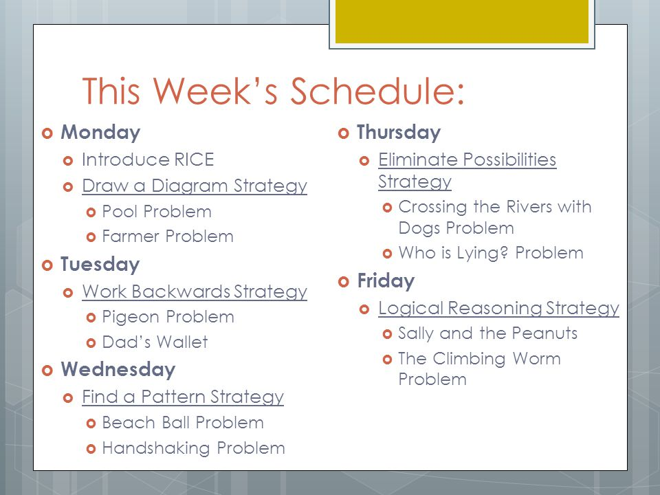 Your Guide Book - RICE  You will be expected to use the RICE method to solve each problem this week.