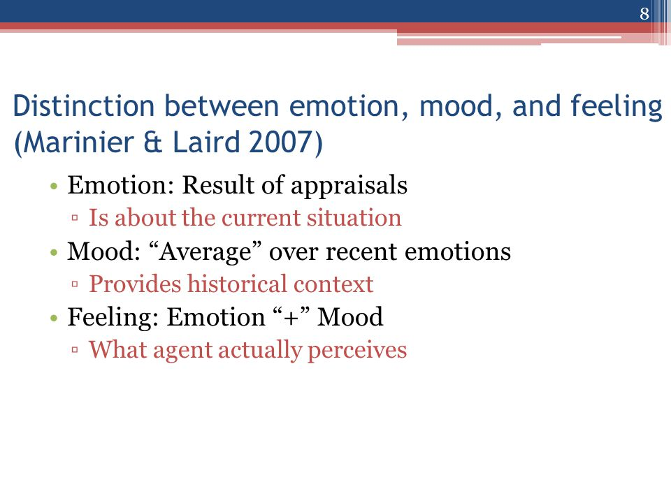 Cognition Emotion Mood Feeling Combination Function Pull Decay Active Appraisals Perceived Feeling Emotion, mood, and feeling 9