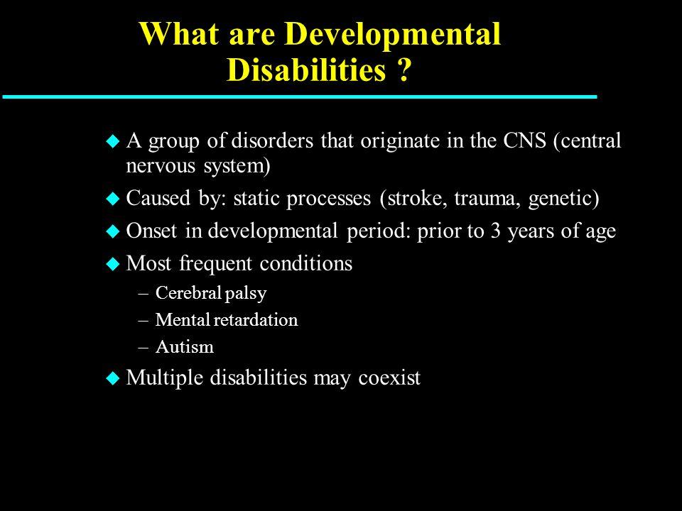 Topics u Cerebral Palsy u Mental Retardation (intellectual deficiency) u Autism u Concomitant conditions –Epilepsy **** –Psychiatric disorders
