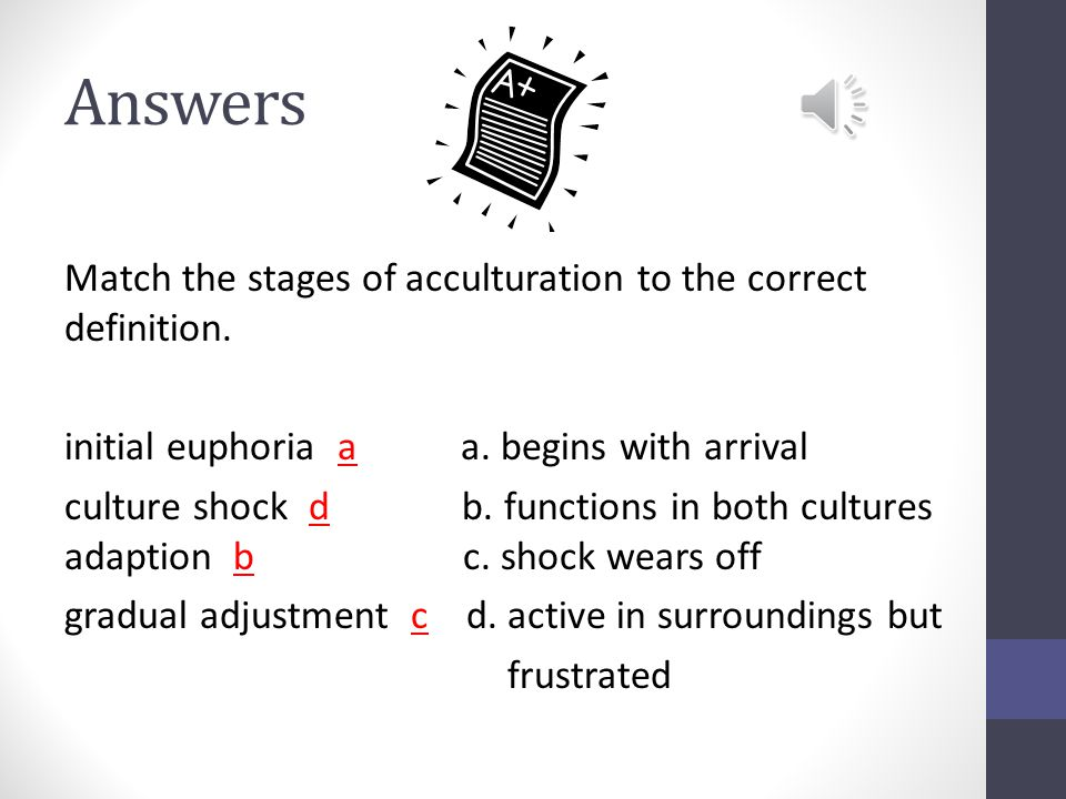 Test Your Progress Match the stages of acculturation to the correct definition.
