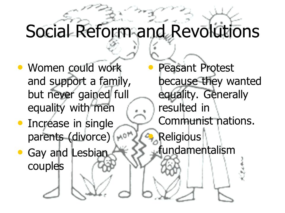 Social Reform and Revolutions Women could work and support a family, but never gained full equality with men Increase in single parents (divorce) Gay and Lesbian couples Peasant Protest because they wanted equality.
