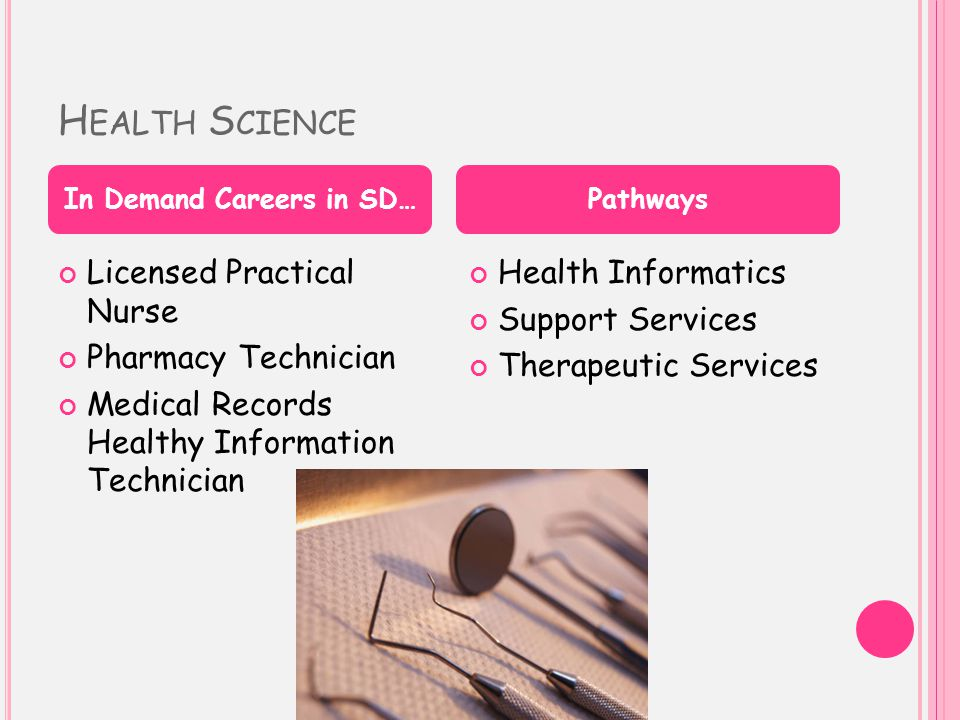 H EALTH S CIENCE Licensed Practical Nurse Pharmacy Technician Medical Records Healthy Information Technician Health Informatics Support Services Therapeutic Services In Demand Careers in SD…Pathways