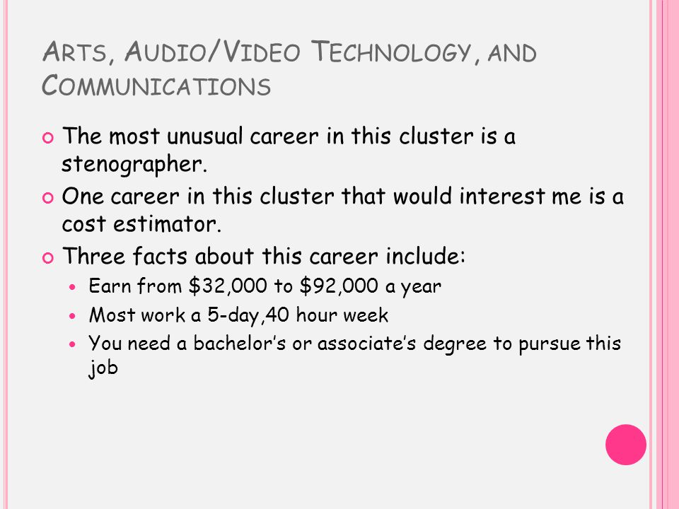 A RTS, A UDIO /V IDEO T ECHNOLOGY, AND C OMMUNICATIONS The most unusual career in this cluster is a stenographer. One career in this cluster that woul