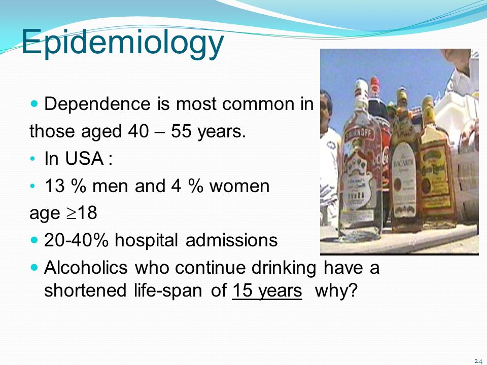 24 Epidemiology Dependence is most common in those aged 40 – 55 years. In USA : 13 % men and 4 % women age  18 20-40% hospital admissions Alcoholics