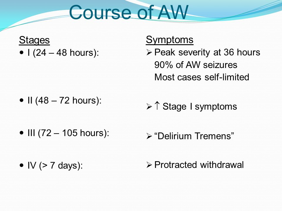 Course of AW Stages I (24 – 48 hours): II (48 – 72 hours): III (72 – 105 hours): IV (> 7 days): Symptoms  Peak severity at 36 hours 90% of AW seizure