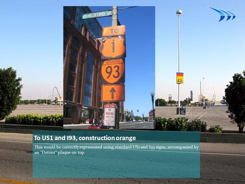 To US1 and I93, construction orange This would be correctly represented using standard US1 and I93 signs, accompanied by an Detour plaque on top.