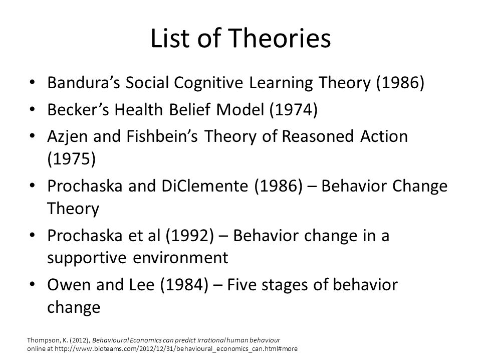 List of Theories Bandura's Social Cognitive Learning Theory (1986) Becker's Health Belief Model (1974) Azjen and Fishbein's Theory of Reasoned Action (1975) Prochaska and DiClemente (1986) – Behavior Change Theory Prochaska et al (1992) – Behavior change in a supportive environment Owen and Lee (1984) – Five stages of behavior change Thompson, K.