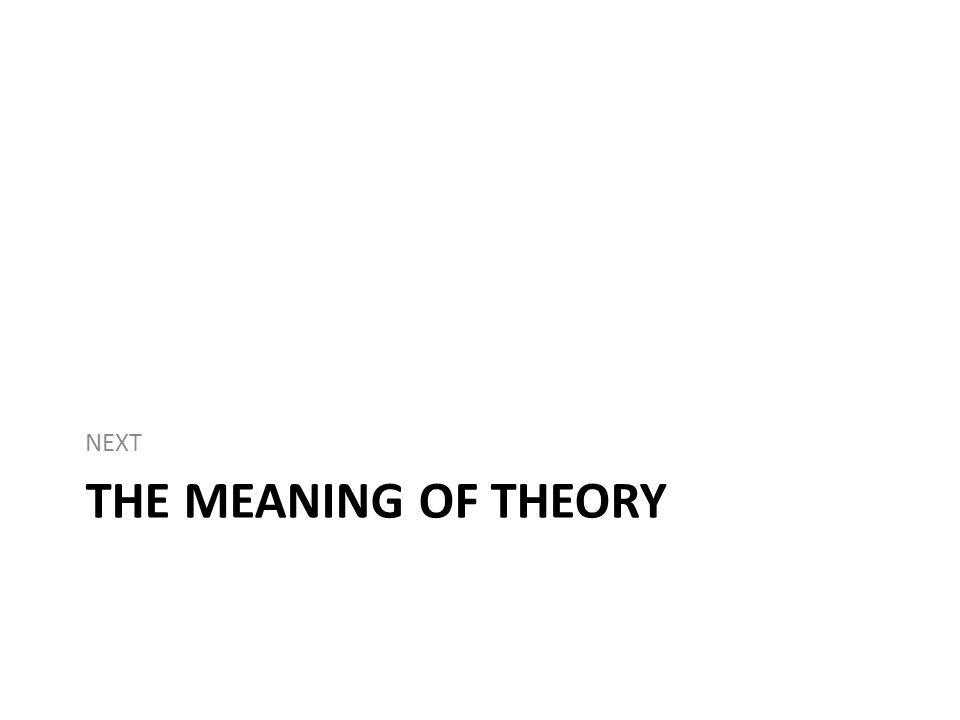 THE MEANING OF THEORY NEXT