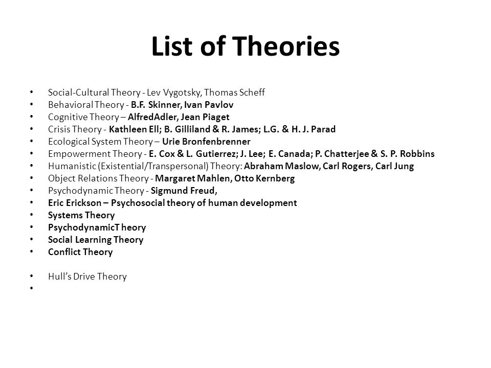 List of Theories Social-Cultural Theory - Lev Vygotsky, Thomas Scheff Behavioral Theory - B.F.