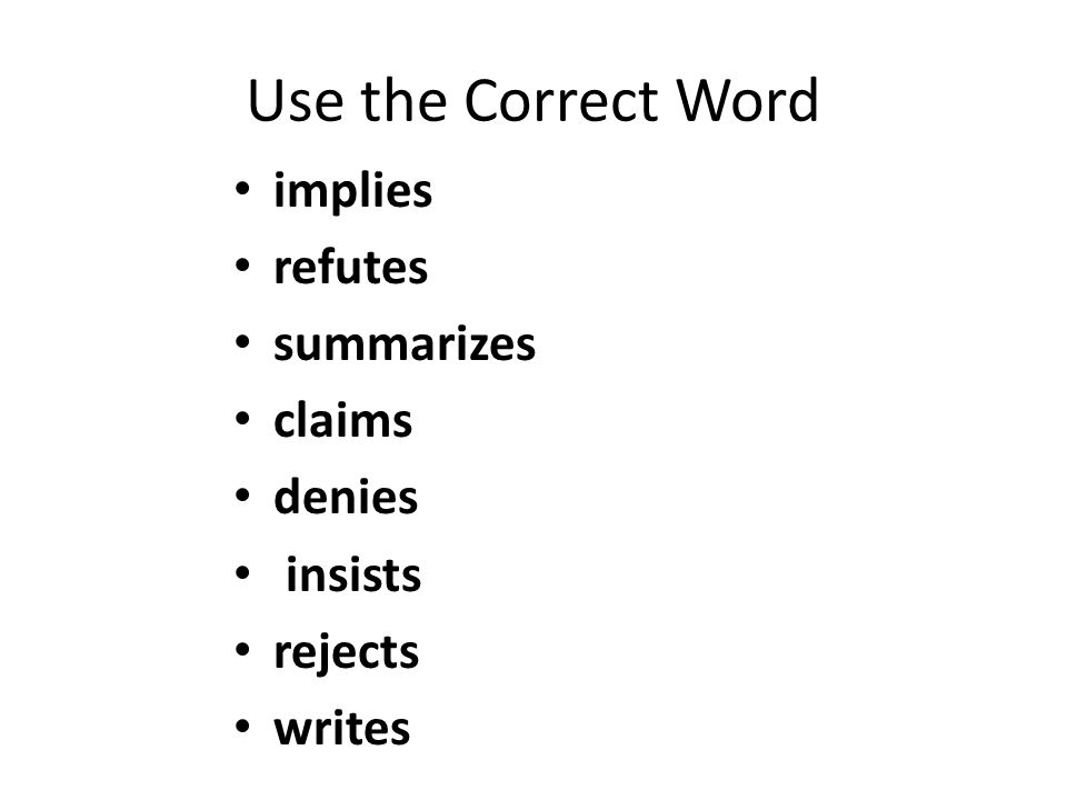 Use the Correct Word implies refutes summarizes claims denies insists rejects writes