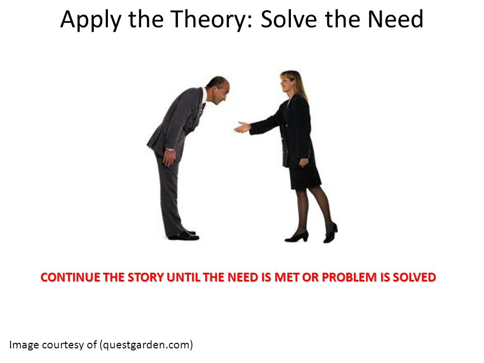 Apply the Theory: Solve the Need Image courtesy of (questgarden.com) CONTINUE THE STORY UNTIL THE NEED IS MET OR PROBLEM IS SOLVED