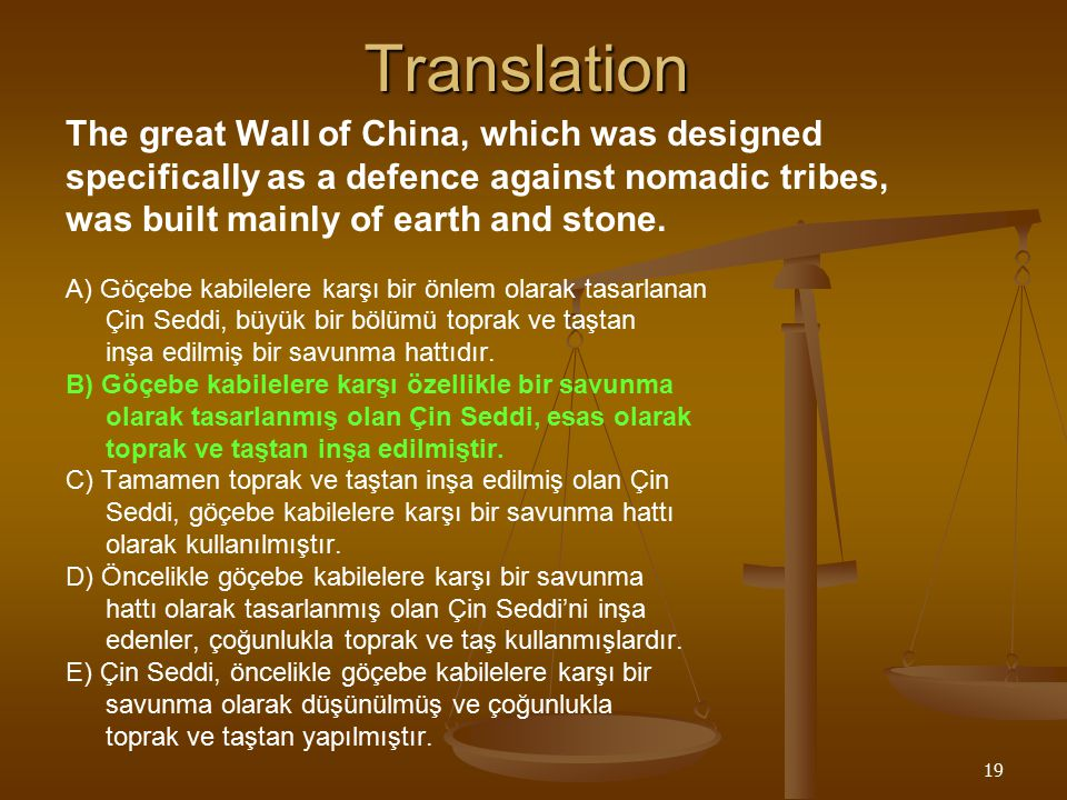 19Translation The great Wall of China, which was designed specifically as a defence against nomadic tribes, was built mainly of earth and stone.