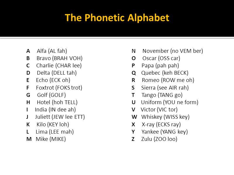 The Phonetic Alphabet A Alfa (AL fah) B Bravo (BRAH VOH) C Charlie (CHAR lee) D Delta (DELL tah) E Echo (ECK oh) F Foxtrot (FOKS trot) G Golf (GOLF) H
