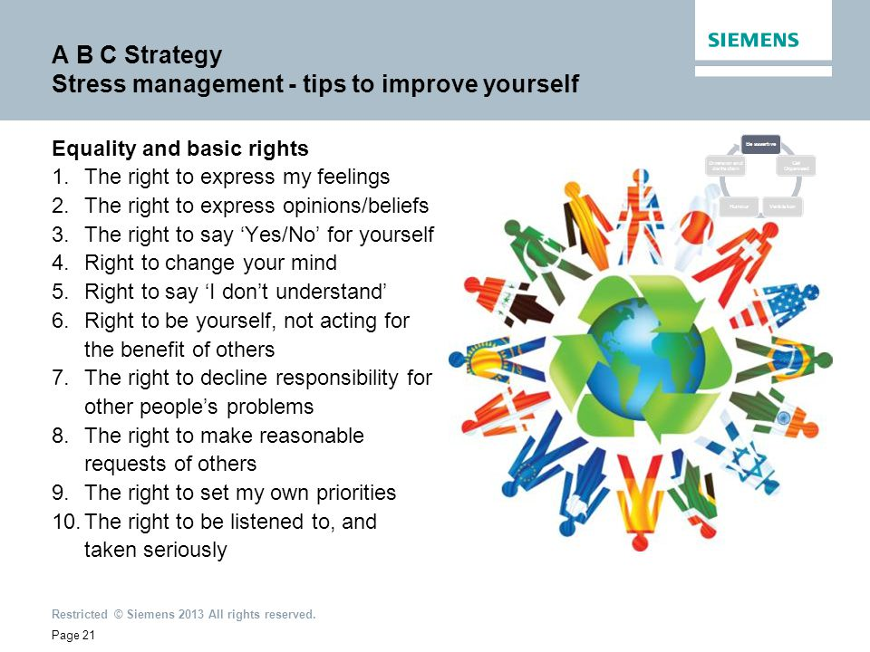 2012-Dec Restricted © Siemens 2013 All rights reserved. Page 21 A B C Strategy Stress management - tips to improve yourself Equality and basic rights