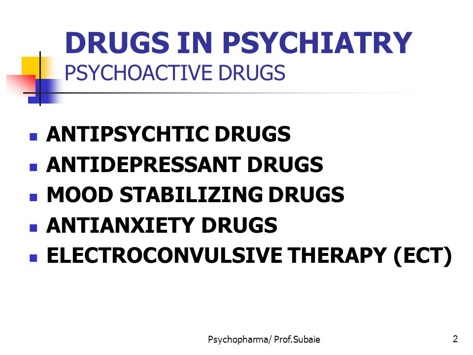 Psychopharma/ Prof.Subaie13 ANTIPSYCHOTIC DRUGS Other Side effects Muscarenic (anti-cholenergic): dry mouth Constipation Blurred vision, urinary retention Precipitation of narow angle glucoma Alpha – 1 – adrenergic blockade: Orthostatic hypotension Impotence Impaired ejaculation