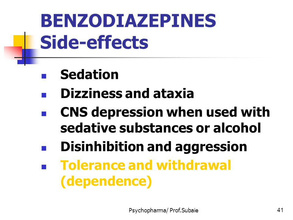 Psychopharma/ Prof.Subaie41 BENZODIAZEPINES Side-effects Sedation Dizziness and ataxia CNS depression when used with sedative substances or alcohol Di