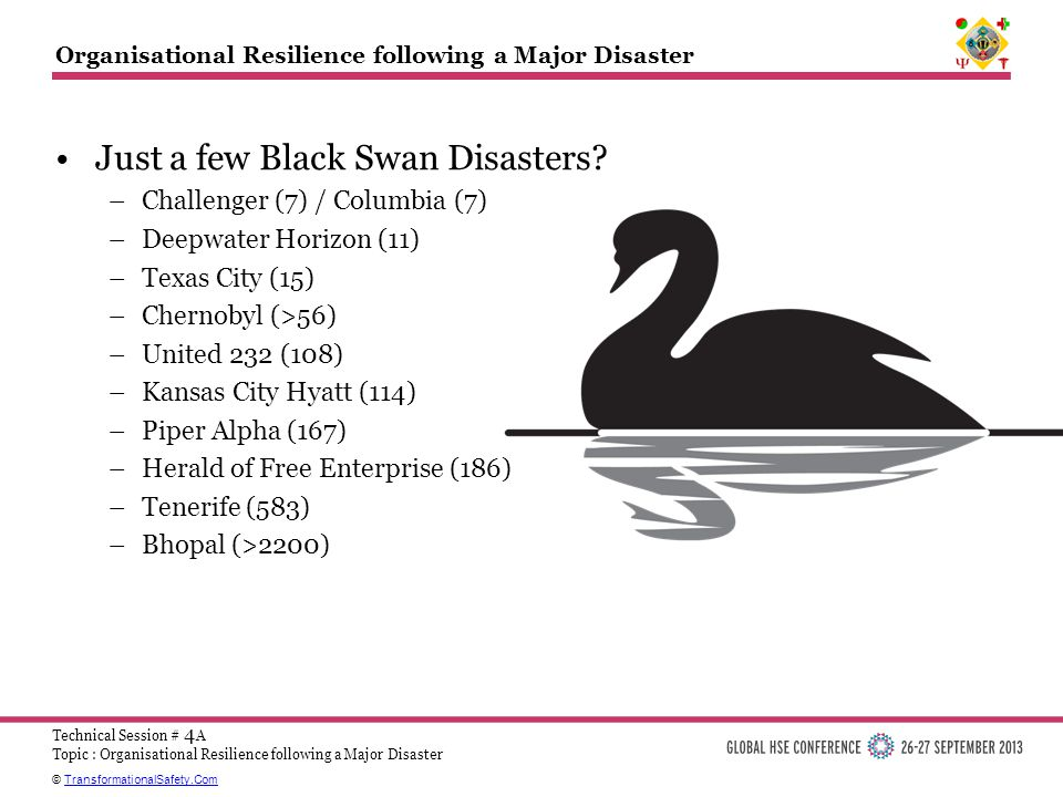 © TransformationalSafety.ComTransformationalSafety.Com Technical Session # 4 A Topic : Organisational Resilience following a Major Disaster Organisational Resilience following a Major Disaster Just a few Black Swan Disasters.