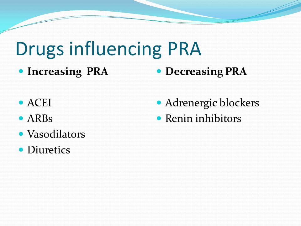 Drugs influencing PRA Increasing PRA ACEI ARBs Vasodilators Diuretics Decreasing PRA Adrenergic blockers Renin inhibitors
