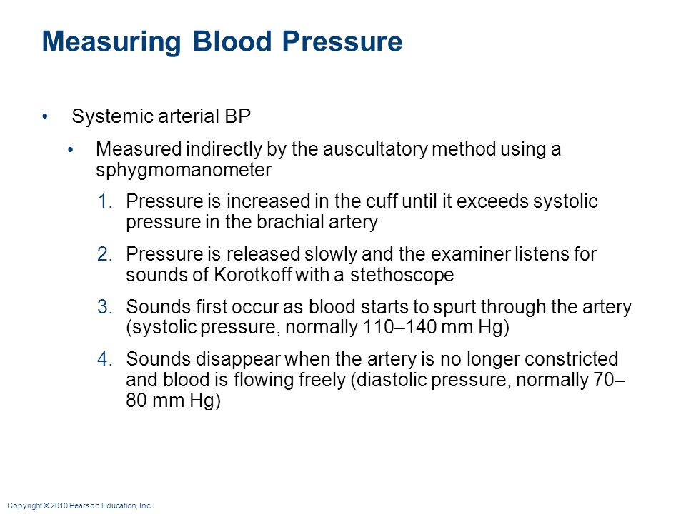 Copyright © 2010 Pearson Education, Inc. Measuring Blood Pressure Systemic arterial BP Measured indirectly by the auscultatory method using a sphygmom