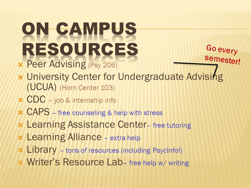  Peer Advising (Psy 206)  University Center for Undergraduate Advising (UCUA) (Horn Center 103)  CDC – job & internship info  CAPS – free counseling & help with stress  Learning Assistance Center – free tutoring  Learning Alliance – extra help  Library – tons of resources (including PsycInfo!)  Writer's Resource Lab – free help w/ writing Go every semester!
