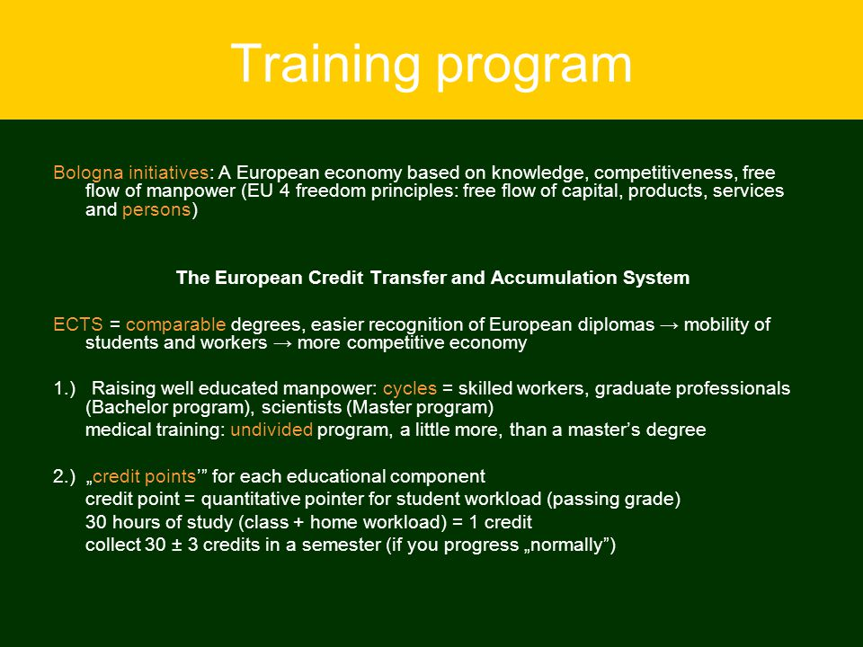 Training program Bologna initiatives: A European economy based on knowledge, competitiveness, free flow of manpower (EU 4 freedom principles: free flo