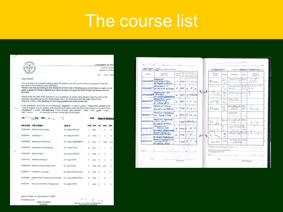 The course list