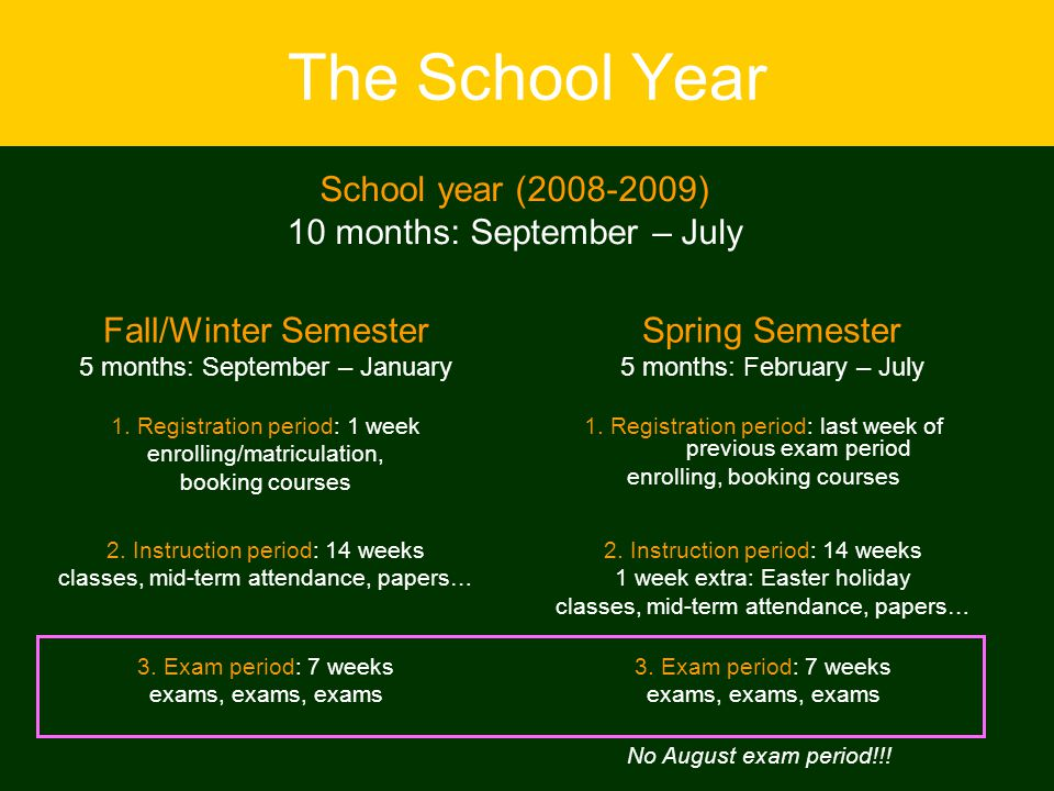 The School Year School year (2008-2009) 10 months: September – July Fall/Winter Semester 5 months: September – January Spring Semester 5 months: February – July 1.