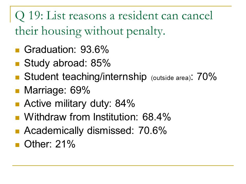 Q 19: List reasons a resident can cancel their housing without penalty.
