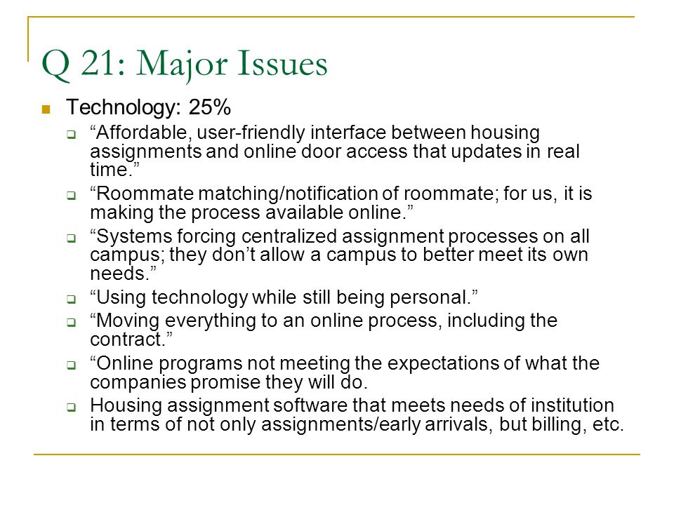 Q 21: Major Issues Technology: 25%  Affordable, user-friendly interface between housing assignments and online door access that updates in real time.  Roommate matching/notification of roommate; for us, it is making the process available online.  Systems forcing centralized assignment processes on all campus; they don't allow a campus to better meet its own needs.  Using technology while still being personal.  Moving everything to an online process, including the contract.  Online programs not meeting the expectations of what the companies promise they will do.