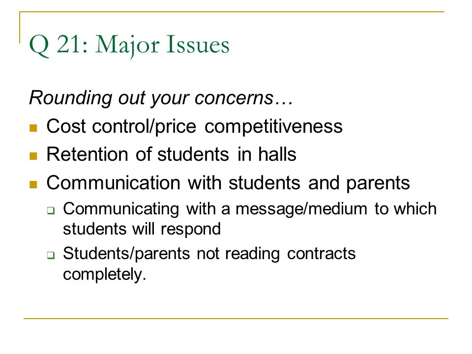 Q 21: Major Issues Rounding out your concerns… Cost control/price competitiveness Retention of students in halls Communication with students and parents  Communicating with a message/medium to which students will respond  Students/parents not reading contracts completely.